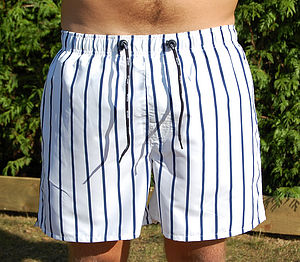 Men's Striped Swim Shorts - men's fashion