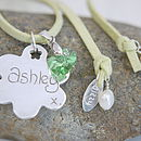 Personalised Silver Flower Suede Necklace