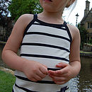 Girls white with blue stripes Vest