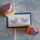 Pair Of Mini Birdies Hand Carved Rubber Stamps
