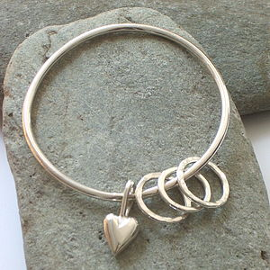 Solid Silver Heart Charm Bangle