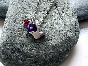 Silver Bird With Gems Necklace