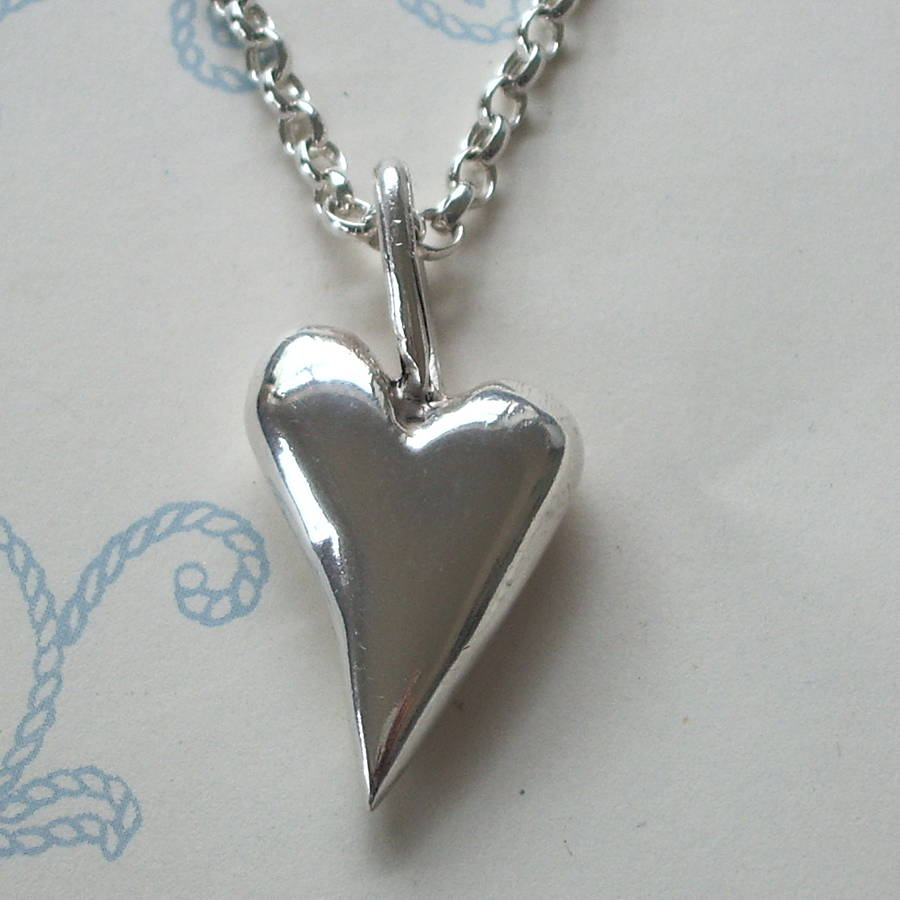 Medium solid silver heart pendant by cathy newell price jewellery mdium chunky heart necklace aloadofball Gallery