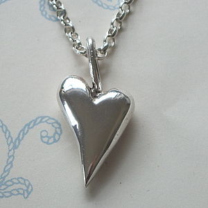 Medium Solid Silver Heart Pendant - jewellery