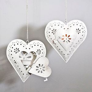 Hanging Heart Tea Light Holders - lighting