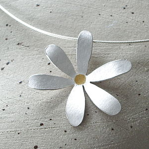 Silver Flower Necklace With Gold Centre - necklaces & pendants