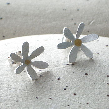 Silver Flower Studs With Gold Centre