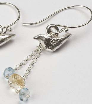 Bird earrings with chain and gems, aquamarine and citrine