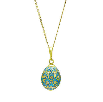 Peacock Design Enamel Egg Pendant