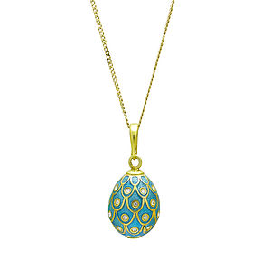 Peacock Design Enamel Egg Pendant - fine jewellery