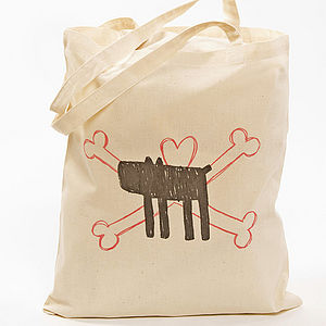 Dog And Crossbones Screen Printed Bag - accessories