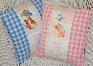 Beatrix Potter© Pastel Birth and Christening Cushion - baby's room