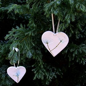 Handmade Porcelain Hanging Heart Decoration - wedding favours
