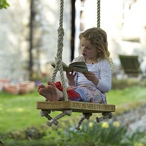 Personalised English Oak Swing - home