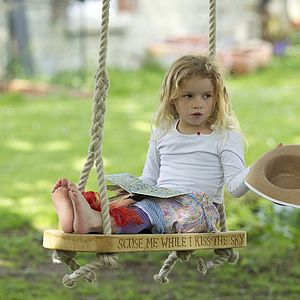 Hand Carved English Oak Swing - premium toys & games