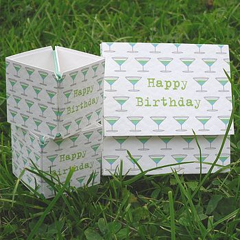 Green cocktail birthday card
