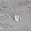 Silver personalised name tag with angel wing and heart charm all silver