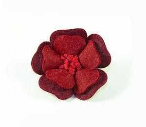 Poppy Flower Felt Brooch - corsages