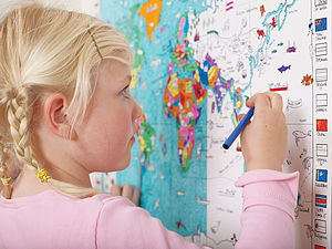 Colour In World Map Poster And Pens - baby's room