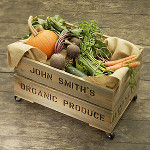 Personalised Vegetable Storage Crate - gifts for him