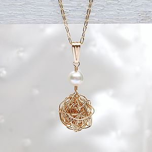 14ct Gold Filled Bird's Nest & Pearl Necklace