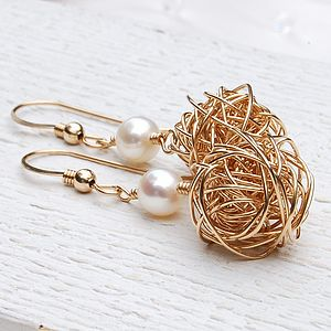 14ct Gold Filled Bird's Nest & Pearl Earrings