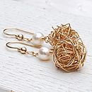 Gold fill birds nest and pearl earrings 2