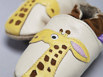 'Lofty The Giraffe' Soft Leather Baby Shoes