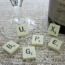 Set Of Six Personalised Scrabble Wine Charms