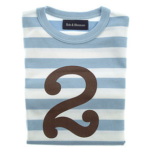 Age/Number Kids T-shirt Sky Blue & White - clothing