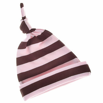Striped Hat Pale Pink & Brown