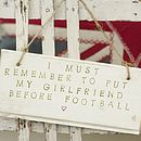 HR I must remember to put my girlfriend before football