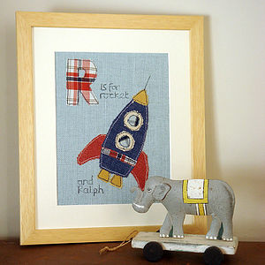 Personalised Boy's Alphabet Picture, Framed - children's room accessories