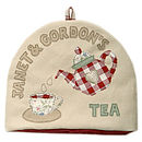 personalised tea cosy, red teapot, 13 letters