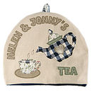 blue trimmed tea cosy - 12 letters