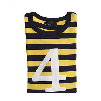 Number T-shirt Yellow & Navy