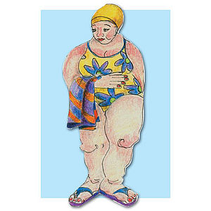 'Swimmer with Towel' Greetings Card