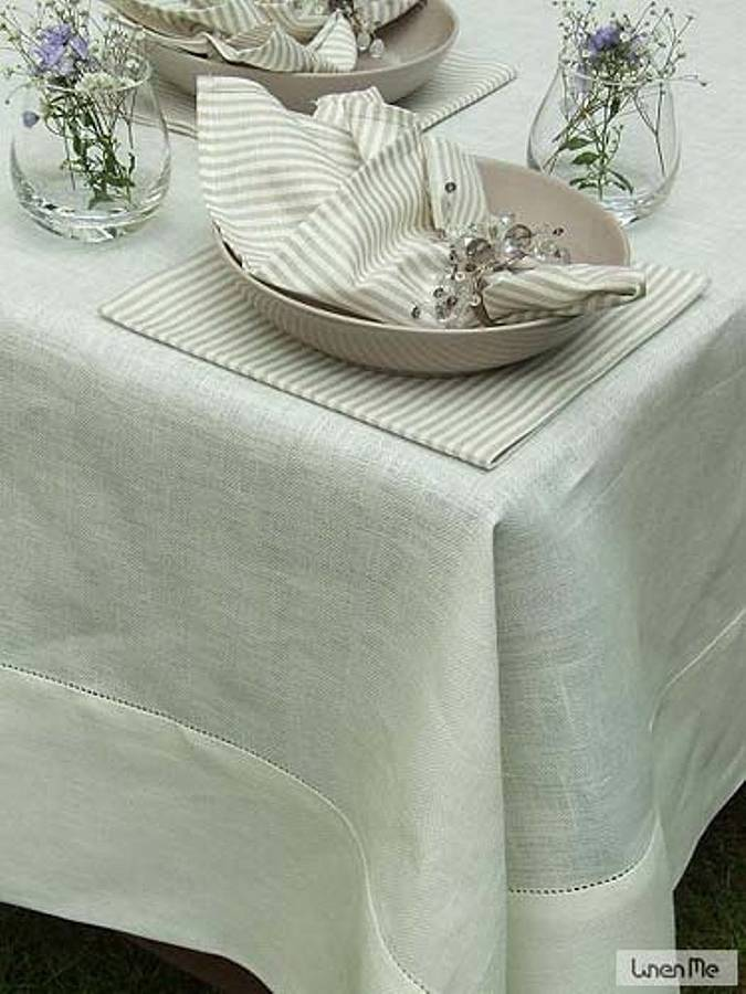 Optical White Linen Hemstitched Tablecloth Emi