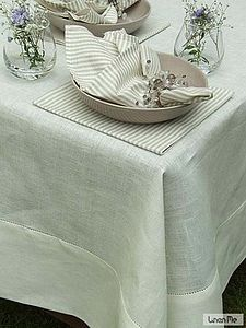 Antique White Linen Hemstitched Tablecloth - tableware