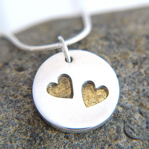 Personalised Wedding Day Silver and Gold Heart Necklace
