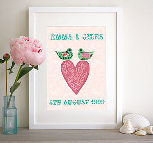Personalised Heart With Birds Print - wedding gifts