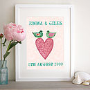 Personalised Heart With Birds Print