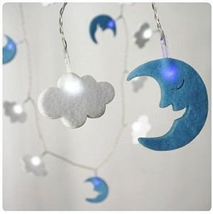 Children's Moon & Clouds Fairy String Lights - children's room accessories
