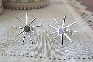 Silver Sun Star Stud Earrings