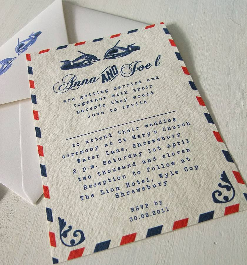 Airmail Wedding Invitations: Vintage Airmail Wedding Invitations With Rsvp Cards By
