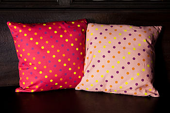 Bright and Pale Pink Dotty Cushions