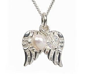 Guardian Angel Necklace In Pearl - children's jewellery