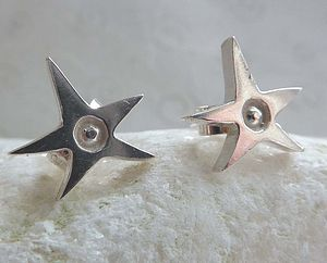 Silver Spiky Star Stud Earrings