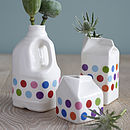 Large Polkadot Porcelain Milk Bottle