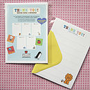 Personalised thank you stationery packs